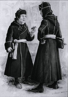 Students at the Petit Séminaire du Québec were required to wear a uniform that was based off the hooded capot from traditional French-Canadian dress.  While this image is an illustration of a late-17th century version, the basic concept would have held in the 18th century: a dark blue capot with white piping on the seams, tied closed with a sash (usually white).  The hat was regulated in the 17th century, but not in the 18th, so I imagine that Matthieu would have worn a tricorn with it.