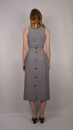 Houndstooth Midi Skirt w/ pockets button back