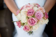 rose bouquet | wedding flowers | pink and cream