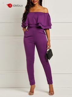 e7b085f396d Slash Neck Falbala Skinny Plain Women s Jumpsuit Coat Dress