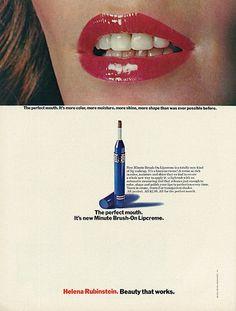 "1972 Cosmetics Ad, Helena Rubinstein Minute Brush-on Lipcreme, ""Beauty That Works""   Flickr - Photo Sharing!"