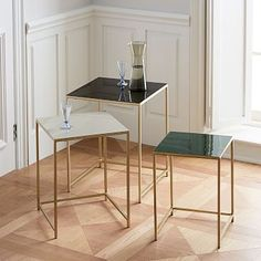 Hmm inspiration for possible DIY project? Print some vinyl and spray paint gold? From West Elm: Enamel Square Nesting Tables (Set of Black Side Table, Metal Side Table, Modern Side Table, Modern Console Tables, Modern Coffee Tables, Iron Furniture, Modern Furniture, West Elm, Chair Side Table
