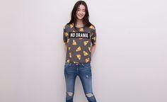 Pull&Bear - mujer - camisetas y tops - camiseta mensaje - gris vigo - 05240341-V2015