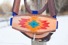 Leather with Blue Nylon, Medium Miniature Horse Halter by KellysLeatherDesign on Etsy Natural Leather, Leather And Lace, Navajo Pattern, Pony Beads, Top Stitching, Medium Brown, Leather Design, Saddle Bags, Hand Carved