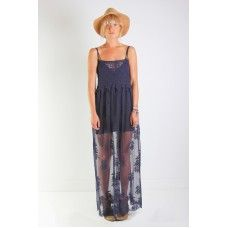 Nightcap Clothing Genevieve Gown in Midnight Crochet Lace