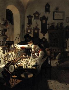 Very reminicent of the Eight of Pentacles.  The artisan hard at work in his shop.  The Eight of Pentacles asks you... what profession excites you?  What work do you get lost in?   Do the work that inspires you, where time passes by without notice.  That is where the most prosperity will come.