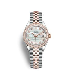 Rolex Lady-Datejust 28 Watch: Everose Rolesor - combination of Oystersteel and 18 ct Everose gold - Rolex Cosmograph Daytona, Rolex Datejust, Rolex Wrist Watch, Rolex Bracelet, Buy Rolex, Luxury Watch Brands, Expensive Watches, Rolex Oyster Perpetual, Pearl Set