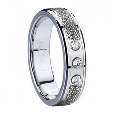 Tungsten Carbide Ring with Laser Stainless Steel and 3 SZ