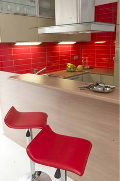 White Kitchen Red Tiles red kitchen backsplash | red tile backsplash adds zing to this