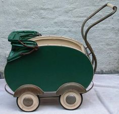 victorian baby carriage | Antique Green Victorian Deco Baby Doll Carriage Buggy Silver Fender ...