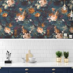 Scale it up! The deep teal and navy combine with bursts of orange, plum and blush pink to create a real statement in the kitchen . Thank you for featuring Ava Marika in Teal/Orange 🖤 . Blue Floral Wallpaper, Orange Wallpaper, Bold Wallpaper, Kitchen Wallpaper, Unique Wallpaper, Wallpaper Samples, Wallpaper Roll, Wallpaper Ideas, Magnolia Wallpaper