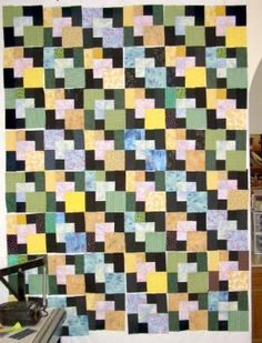 Try Batiks or Brighty Colored Fabrics to Create a Floating Squares Quilt: LindaHoo's Floating Squares Quilt