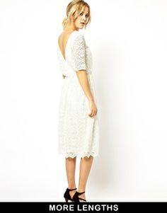 Image 1 ofASOS Midi Lace Dress With Wrap Back