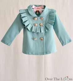 Ruffle Double Breasted Jacket ~ Sky Blue Front