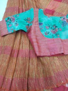 Beautiful Lenin silk sarees with awesome blouses Price - 4000 - Salvabrani Best Blouse Designs, Simple Blouse Designs, Stylish Blouse Design, Pattu Saree Blouse Designs, Designer Blouse Patterns, Sumo, Silk Sarees, Lehenga, Blouses