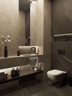 Marble Bathroom Marble Look Bathroom Ideas & Examples With Tiles, Fish Degree, Wash Basin, Bath, Mar Washroom Design, Bathroom Design Luxury, Bathroom Layout, Modern Bathroom Design, Home Interior Design, Modern Toilet Design, Bathroom Ideas, Modern Marble Bathroom, Bathroom Black