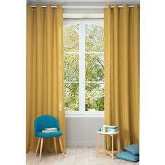Vorhang aus grobem Leinen mit Ösen 130 x 300 cm, senffarben