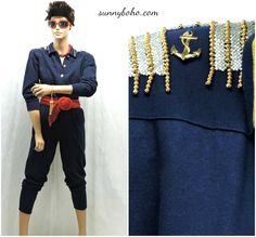 79b1edf1a4a Vintage 80s nautical navy blue jumpsuit S   M 1980s sailor romper one piece  nautical beaded jersey jumpsuit pants suit SunnyBohoVintage