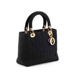 "Newly Listed!!  Christian Dior, A Black Silk Blend Handbag, ""lady Dior"""