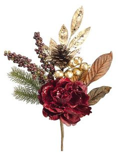 16' Glittered Peony/Rosehip Pick Burgundy Gold (Pack of 12) *** Check this awesome product by going to the link at the image.
