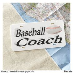 Black 3D Baseball Coach License Plate
