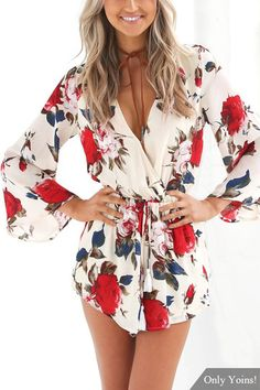 Floral Print Playsuit with 3/4 Length Sleeves from mobile - US$19.95 -YOINS
