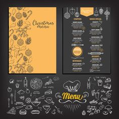Vector restaurant brochure menu design vector cafe template with vektor christmas party invitation restaurant food flyer stopboris Images