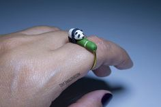 Panda ring, animal ring, handmade, polymer clay, copper wire, for her