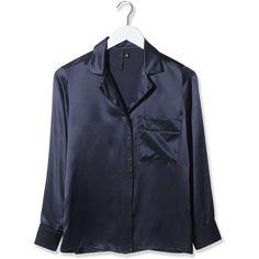 Pyjama-Style Satin Shirt by Boutique ($150) ❤ liked on Polyvore featuring tops, navy blue, satin pyjamas, satin sleepwear, satin pjs i satin pajamas