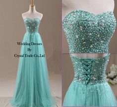 Beading Mint Tulle Wedding Bridesmaid Dress Long Prom Formal Party/Evening Gowns on Wanelo