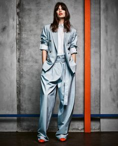 Céline wool jacket, about £2,080, matching trousers, about £1,085, jersey shirt, about £440, and patent calfskin shoes, about £550   Image: Diego Merino