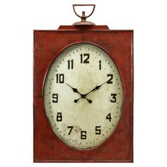 Weathered red wall clock with a lantern motif.  Product: Wall clockConstruction Material: Iron, glass, paper and...