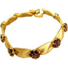 Crown Trifari Red Rhinestone Cluster Ribbon Bracelet