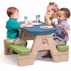 Kids Picnic Table With Umbrella Outdoor Folding Toddler Fun Play Furniture #KidsPicnicTable