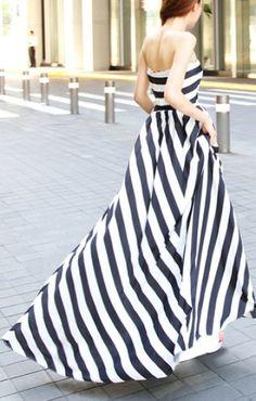 Black White Stripes Print Bustier Sleeveless Chiffon Maxi Dress