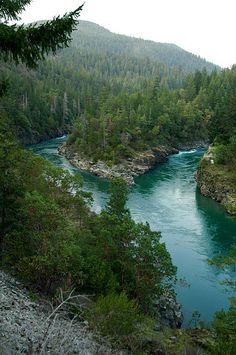 The Smith River near Crescent City — Del Norte County, Northern California. Across the river the Smith River National Recreation Area is seen, part of Six Rivers National Forest.