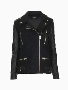 Wool Black Biker Jacket With Leather Sleeves - Choies.com