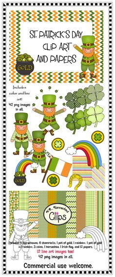 St. Patrick's Day Clip Art and Papers! $  http://www.teacherspayteachers.com/Product/St-Patricks-Day-Clip-Art-and-Papers-Line-art-included-1139511