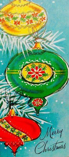 vintage ornaments, mid-century ornaments, retro christmas. Vintage Christmas Card.