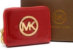 New Michael Kors Purse Square Red Patent Gold Hardware