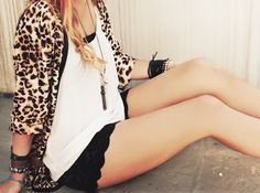 leopard cardi and scalloped shorts