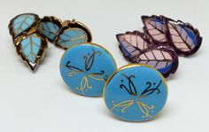Vintage Ceramic Clip On Earrings ( 3 Pair), Hand Painted, Mid Century Jewelry by Snowyowltreasures on Etsy