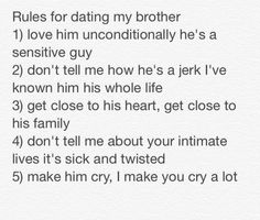 Rules of dating my brother