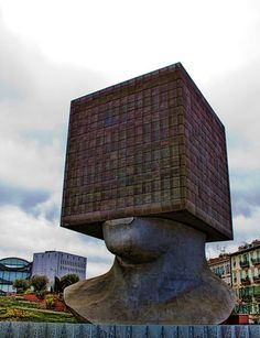 La-Tete-au-Carre, the library in Nice, France. There are 3 floors inside the cube.