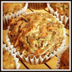 Zucchini Carrot Muffins,Prep Time:10 mins,Cooking Time:18 mins,Serves:9 servings,Directions:    Pre-heat oven to 400 degrees and line 15 muffin tins with paper cups or spray with non-stick spray.      In a large bowl, use a whisk to combine all dry ingredients with the exception of the walnuts.      Once the dry ingredients are mixed well, add in the walnuts and use hands to make sure they are all evenly coated with the floury ingredients. (This will help them float in the muffins!)
