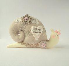 Shabby chic stuffed toy Snail plush Snail. by CherryGardenDolls, $27.00