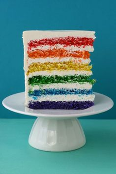 rainbow cake - I would use less frosting inbetween layers