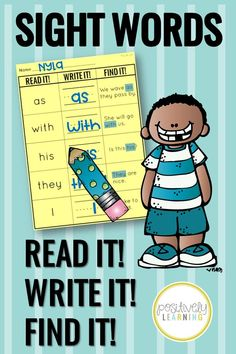 Students will read the sight words, write it, and then find it in a sentence! Add highlighters to these sight word worksheets or slip the page inside a plastic sleeve for literacy centers! There are five sight words on each page and the first 200 Fry Words are included. Bonus Fry Words 1-200 flashcards and progress monitoring tracking pages! #frywords #sightwords