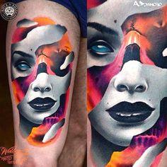 3 colors Face tattoo art works by artist A D Pancho Asian Tattoo Girl, Girl Face Tattoo, Asian Tattoos, Girl Tattoos, Music Tattoos, Body Art Tattoos, 3d Tattoos, Tatoos, Tattoo Sleeve Designs