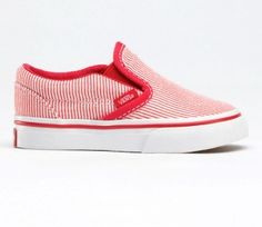 Vans Classic Slip-on Glitter Stripes Kids Shoes (red) Vans Classic Slip On cc066f7764ad